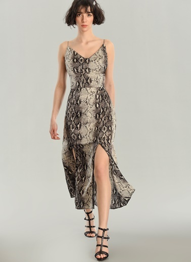 Agenda Yılan Desenli Askılı Elbise Gri